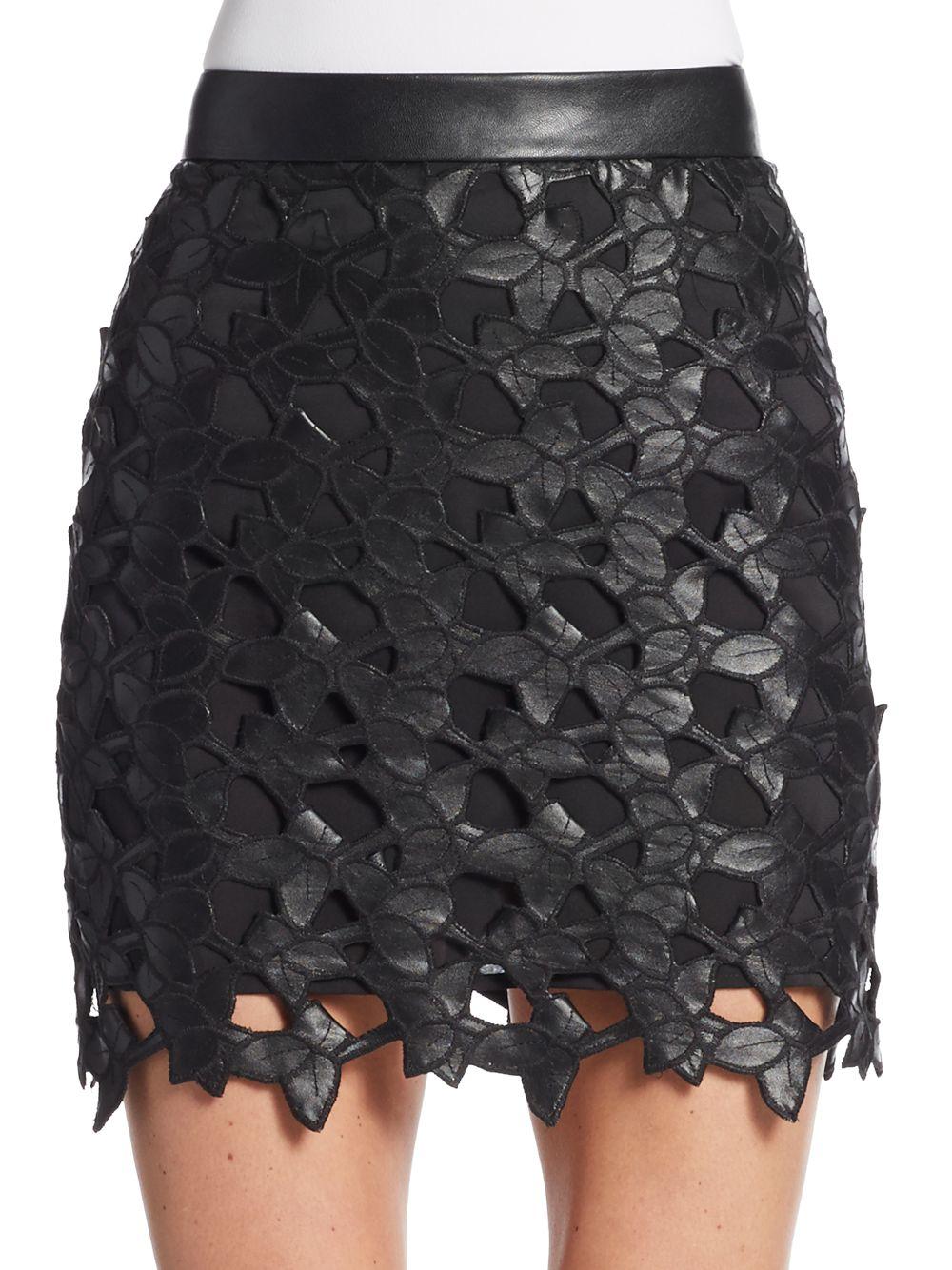Sam edelman Emma Faux Leather-lace Mini Skirt in Black | Lyst