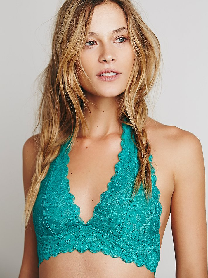 ae08d9c0f6fc3 Lyst - Free People Galloon Lace Halter Bra in Blue