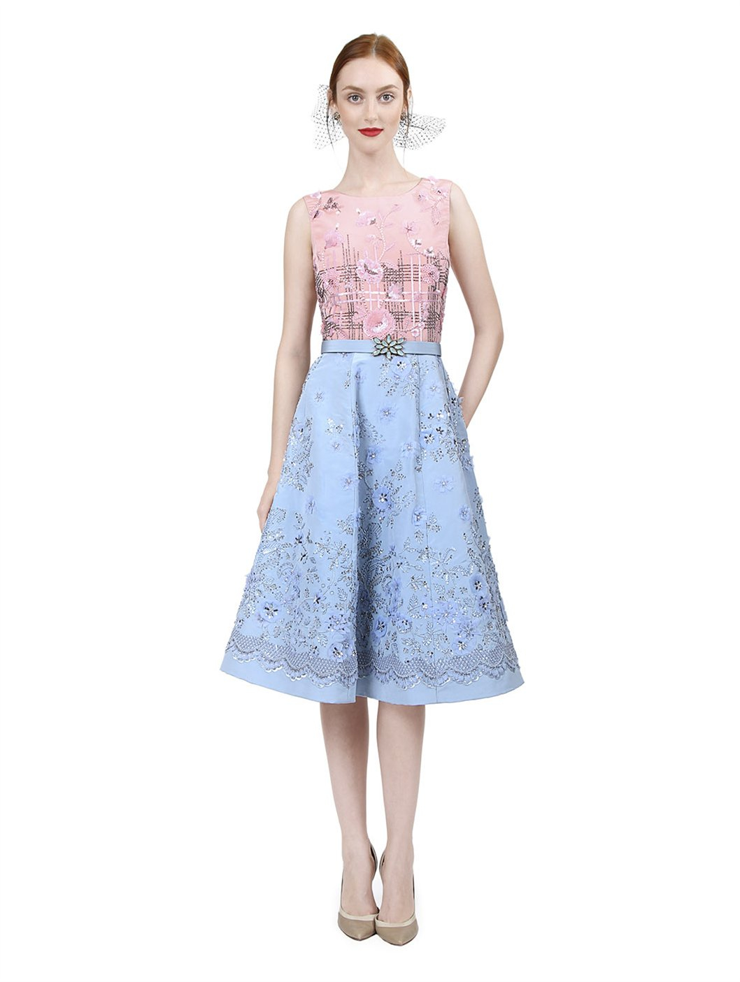 Lyst oscar de la renta sleeveless embroidered dress with