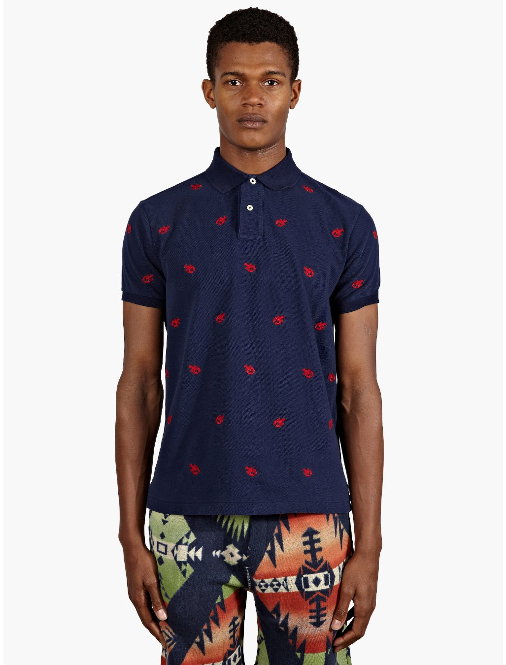 Polo ralph lauren mens navy lobster embroidered polo shirt for Mens navy polo shirt