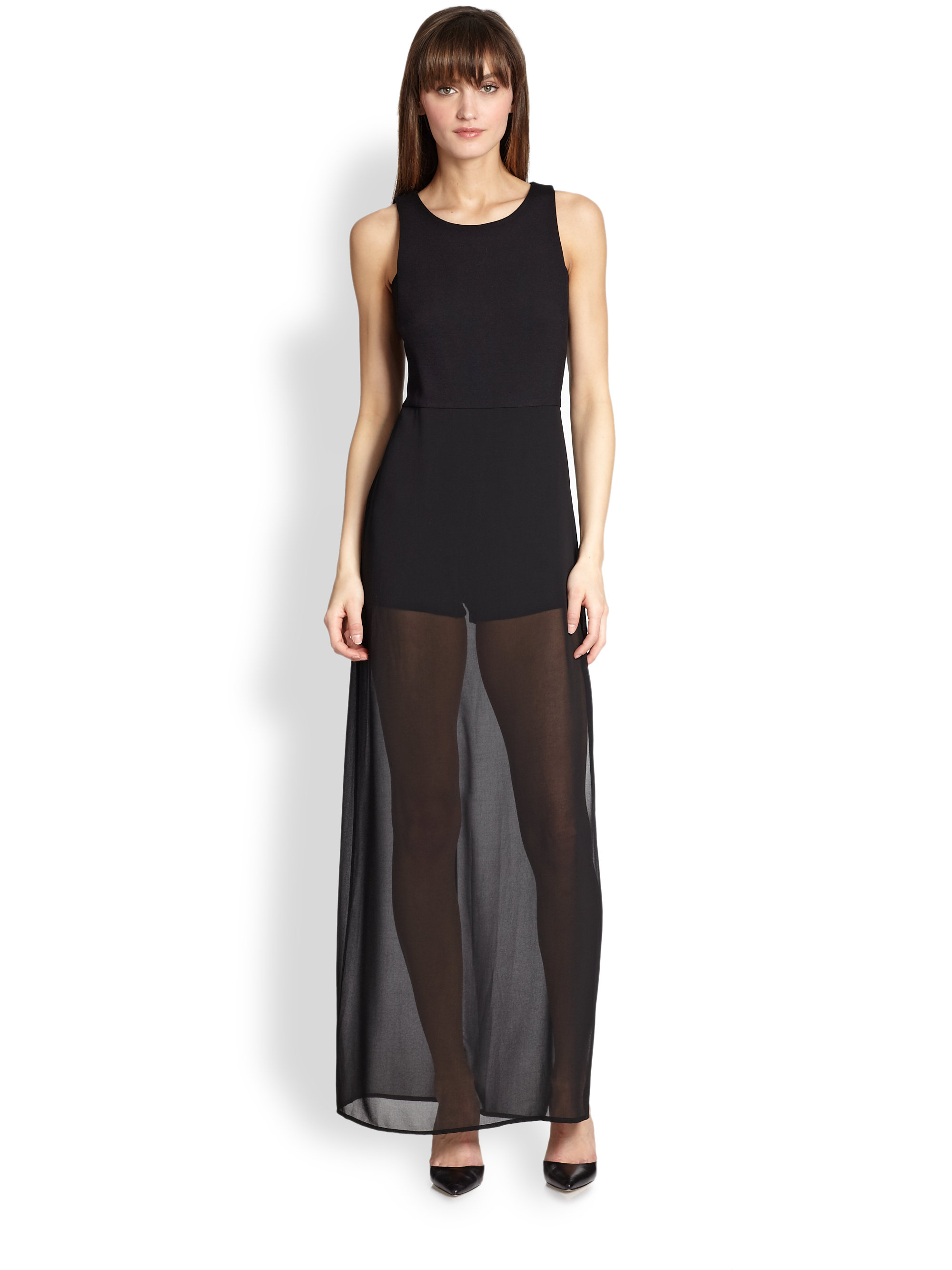bcbgmaxazria kenzi sheer panel maxi dress in black lyst