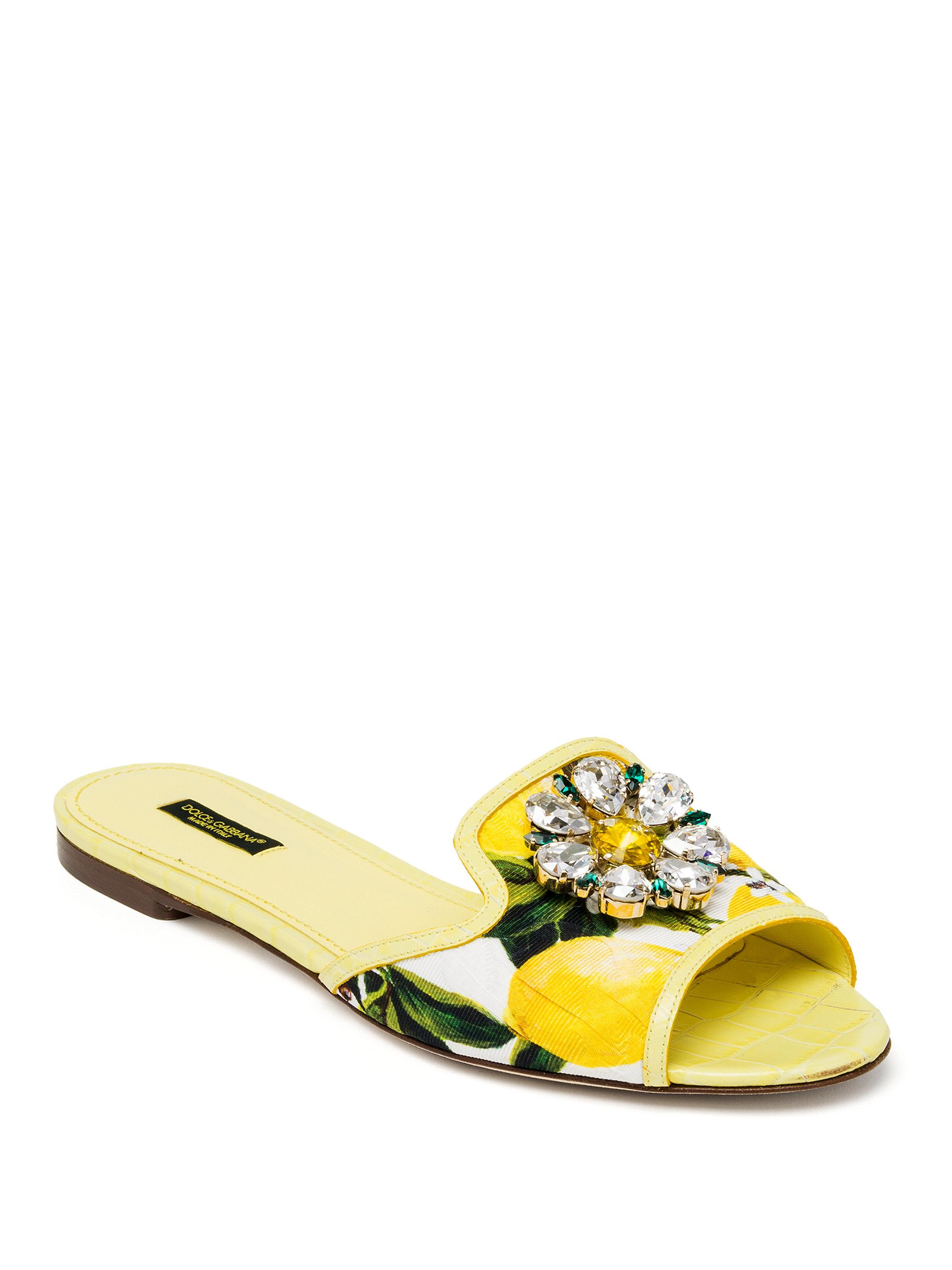 aa3b9a5a2 Dolce & Gabbana Jeweled Lemon Slide Sandals in Yellow - Lyst
