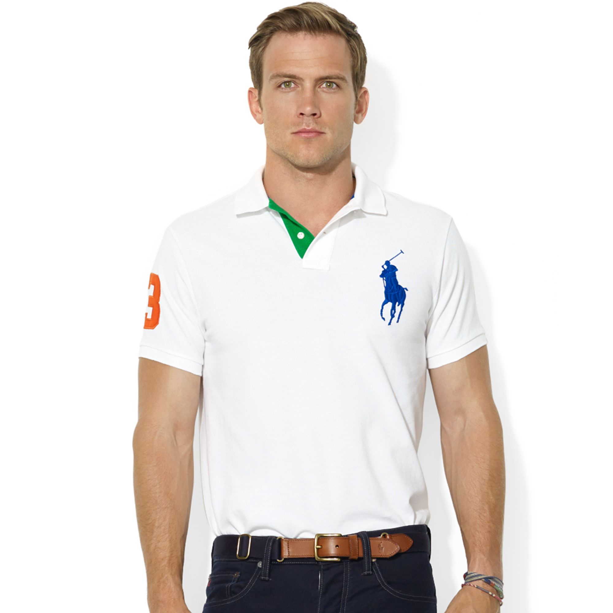 Polo Ralph Lauren Mens Big /& Tall Fit Mesh Big Pony Striped Collar Polo Top Nwt