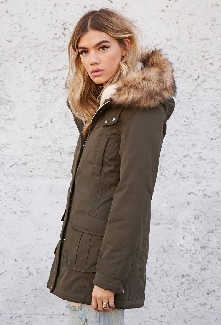 Forever 21 Faux Fur-hooded Parka in Green | Lyst
