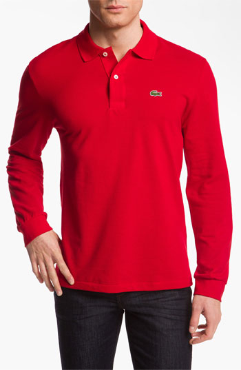 2a2c5cca best price red lacoste long sleeve polo d6401 5838e