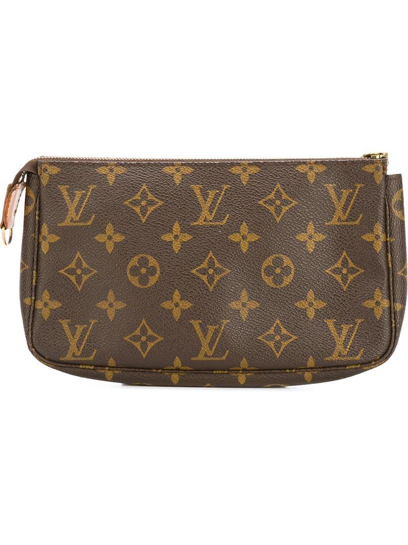 louis vuitton logo printed clutch bag in brown lyst