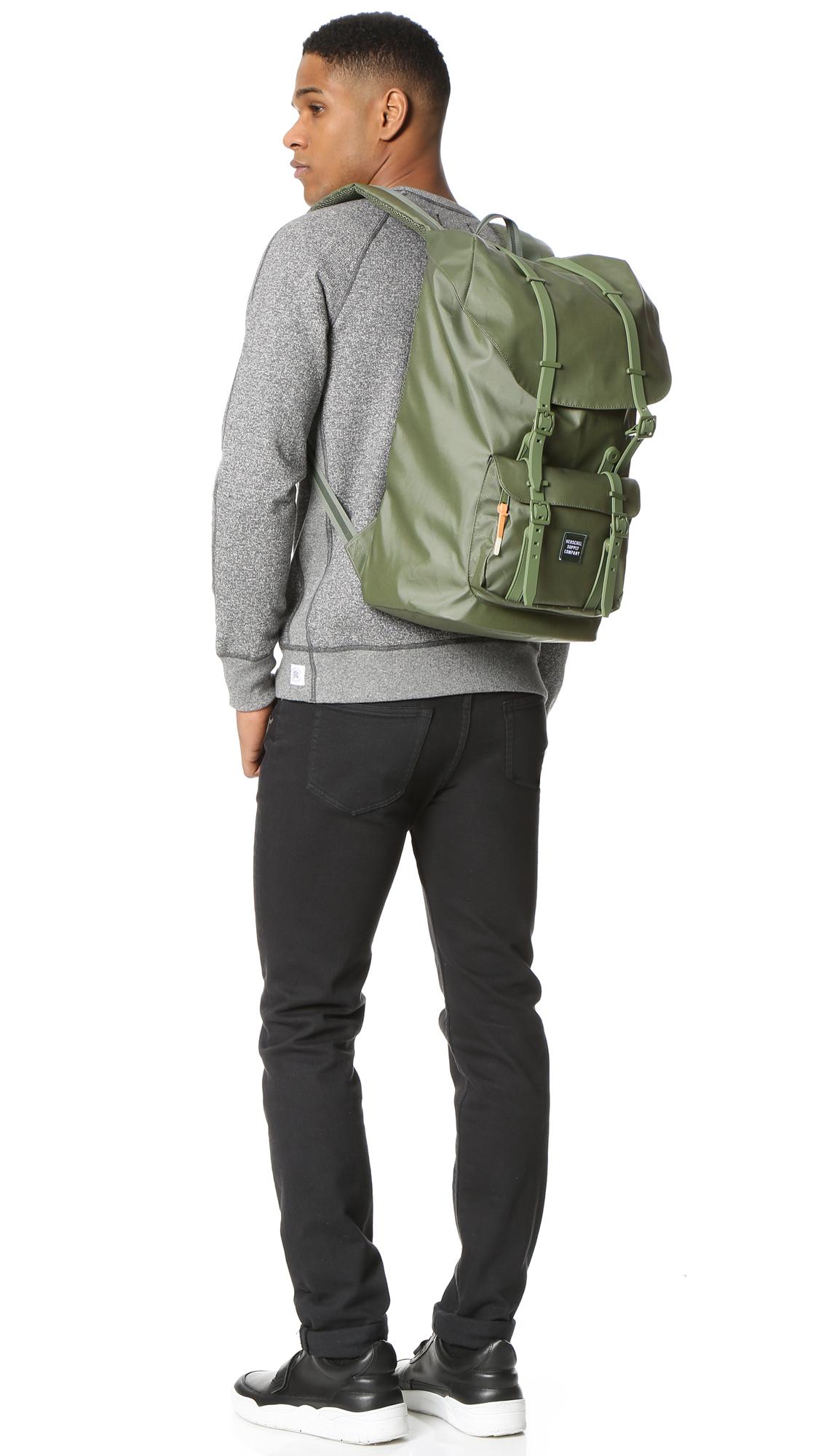 3b4d8ba566 Lyst - Herschel Supply Co. Studio Little America Backpack in Green ...