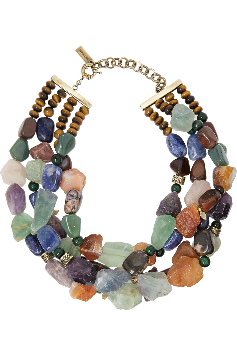 Lyst Etro Tigers Eye Sodalite And Amethyst Necklace In Brown
