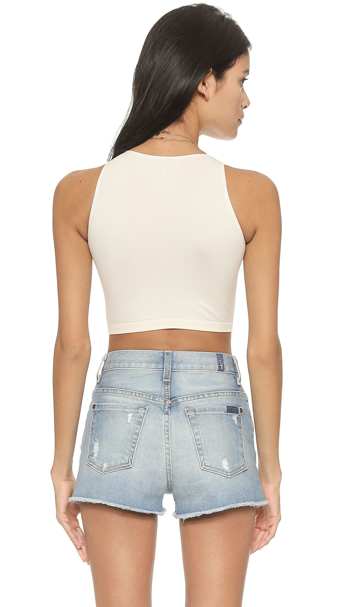 488ff1b00d Lyst - Free People High Neck Crop Seamless Cami in White