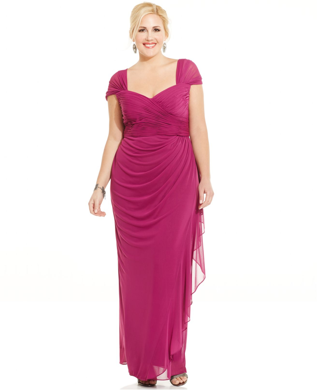 78ad3ace68f Lyst - Alex Evenings Plus Size Ruched Cascade Ruffle Gown in Purple