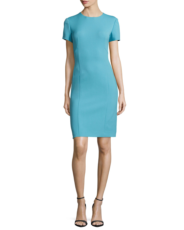 Lyst Agnona Short Sleeve Sheath Dress In Blue