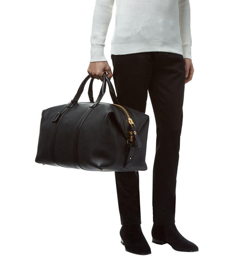 tom ford large grained leather weekender in black for men. Black Bedroom Furniture Sets. Home Design Ideas