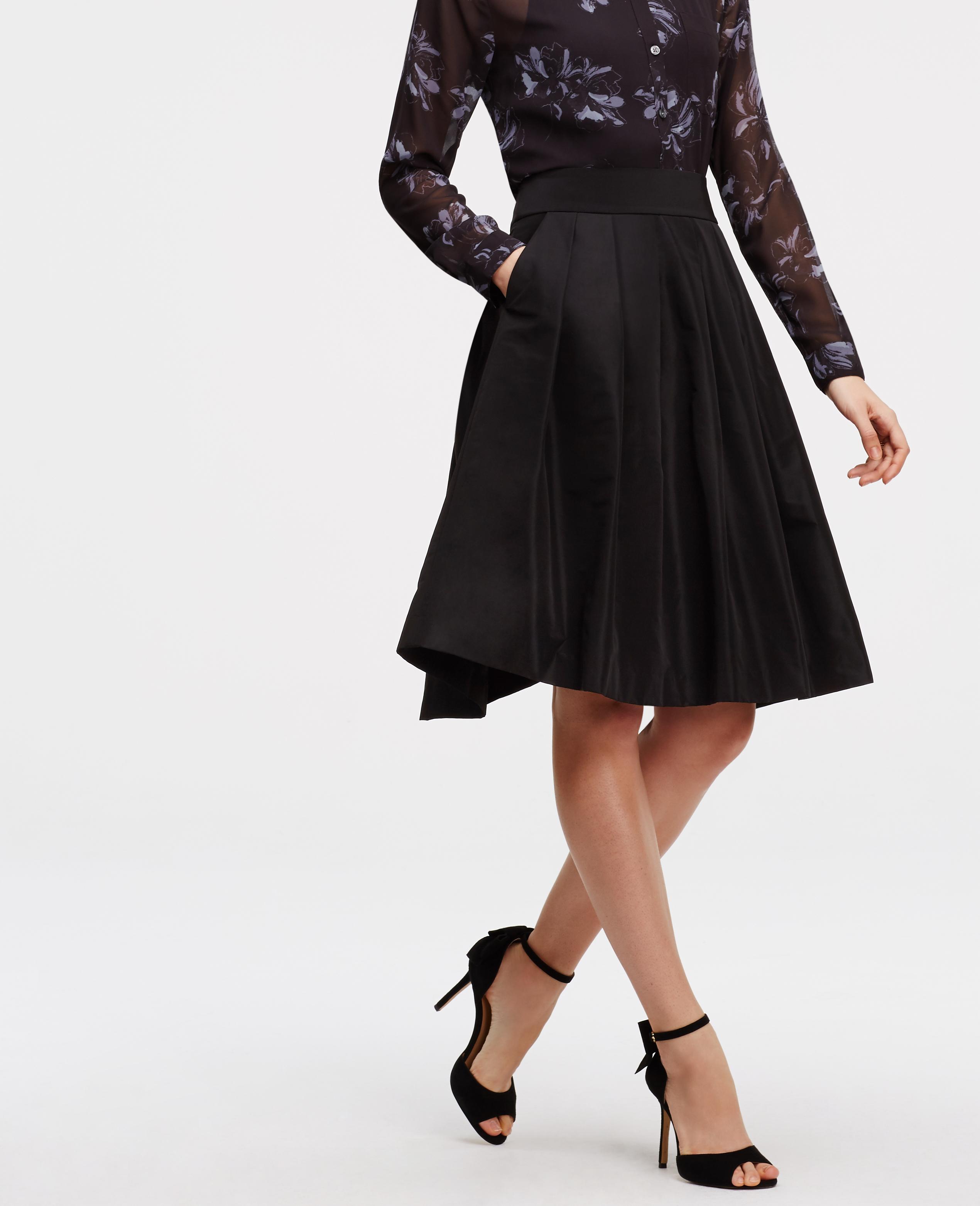 Ann taylor Pleated Taffeta Skirt in Black | Lyst
