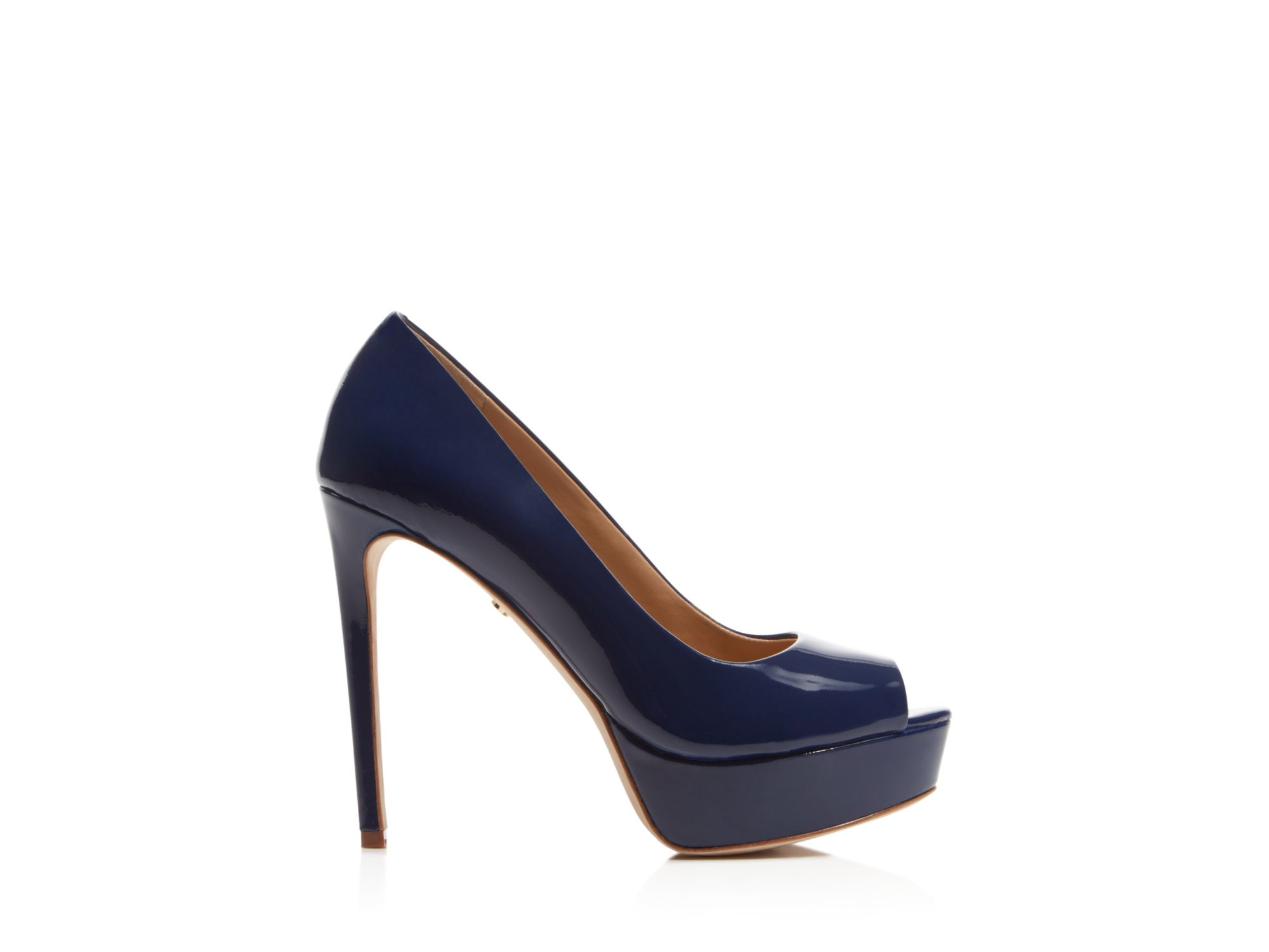 Blue Peep Toe High Heels