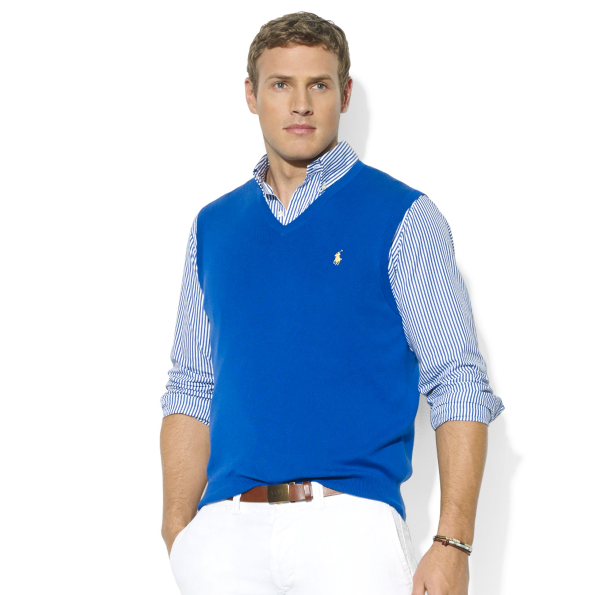 Ralph lauren Vneck Pima Cotton Sweater Vest in Blue for Men | Lyst