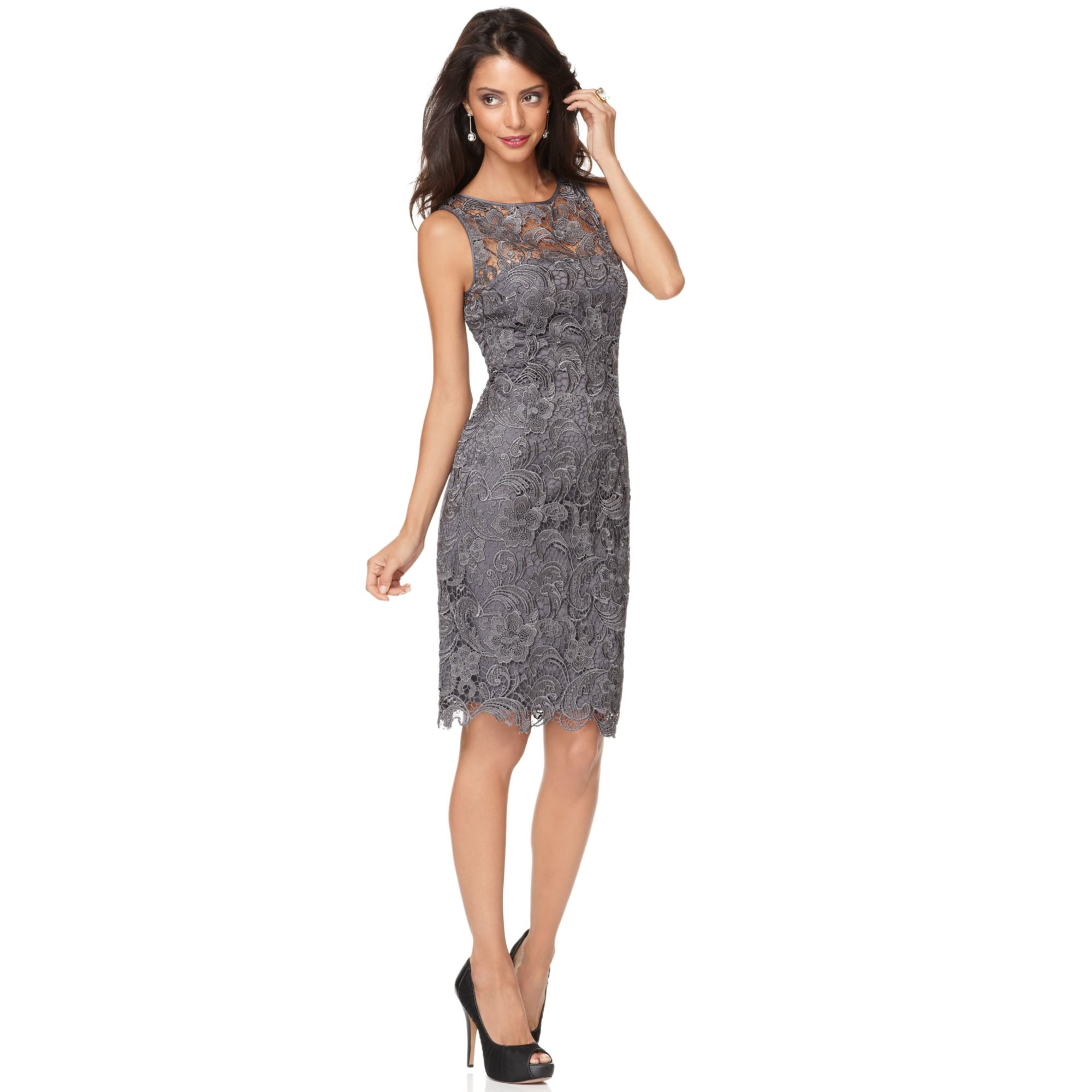 Adrianna Papell Lace Sheath Dress In Gray Charcoal Lyst