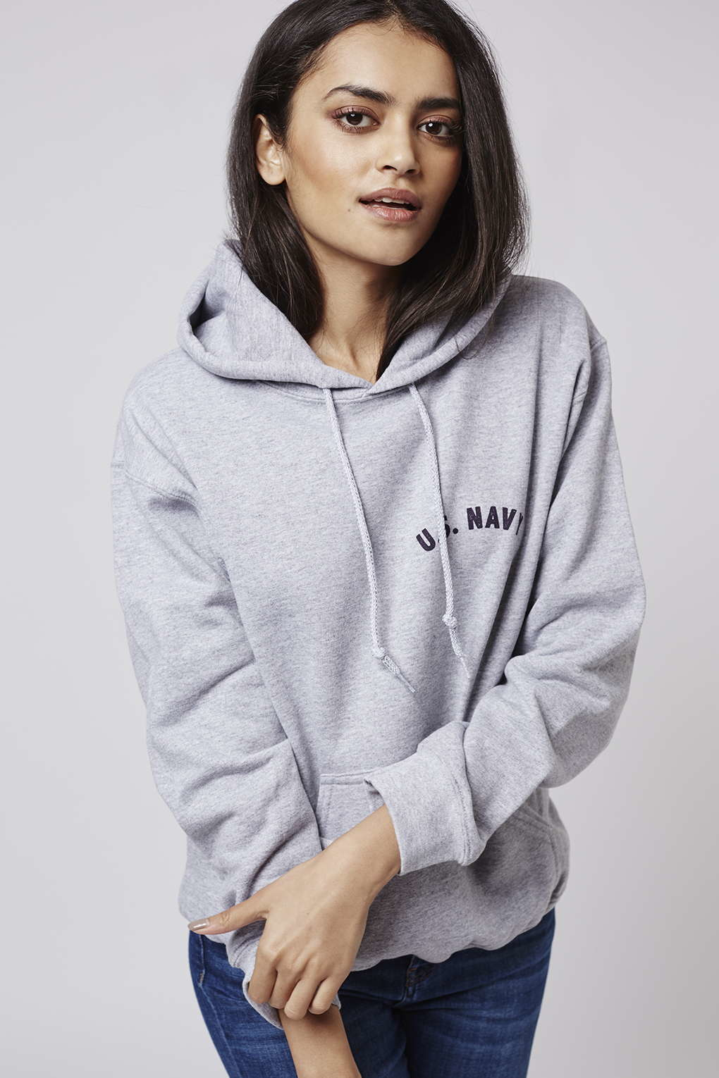 Topshop Us Navy Hoodie By Tee And Cake in Gray | Lyst