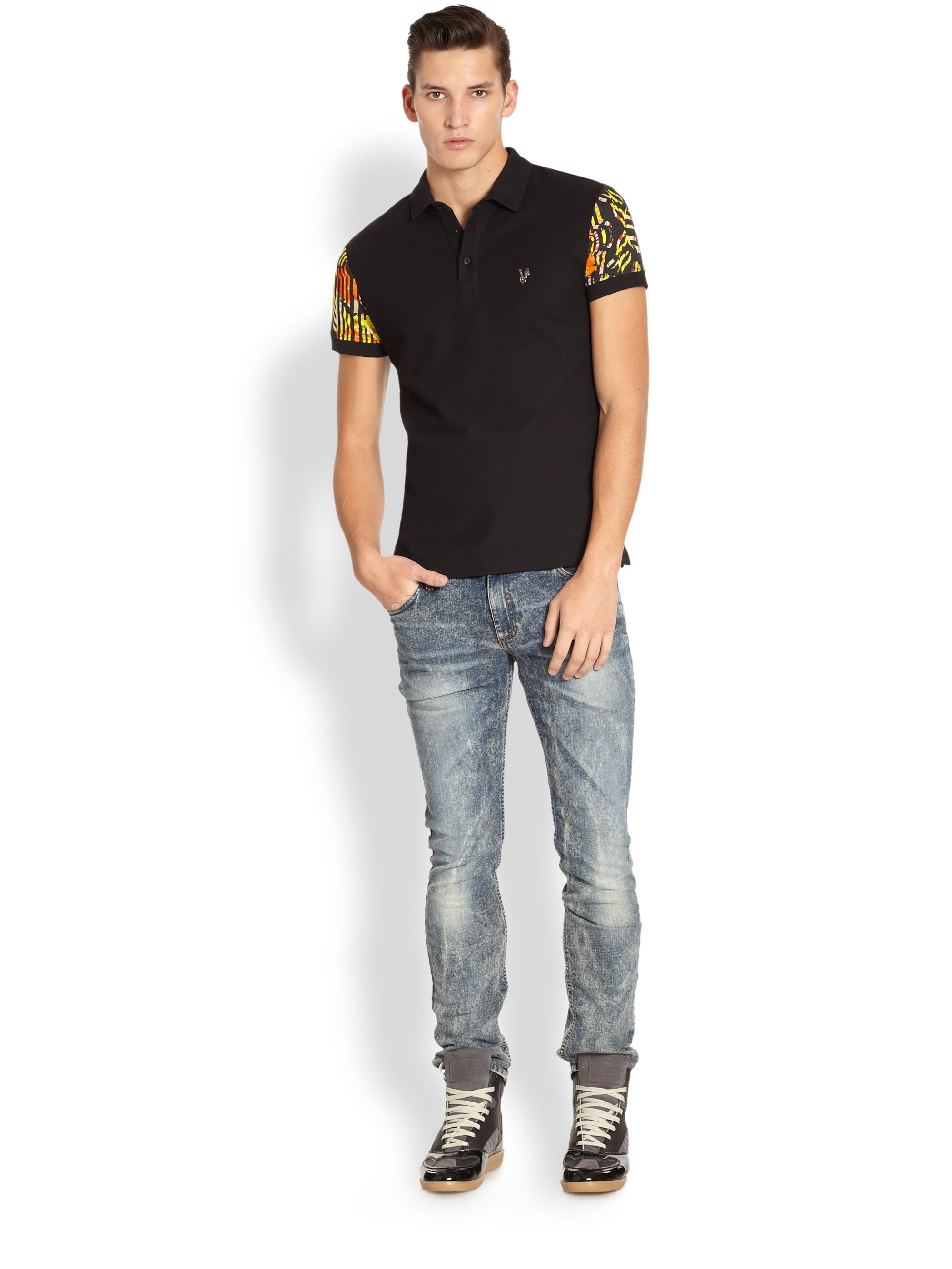Lyst versace jeans floral sleeve polo shirt in black for men for Polo shirt and jeans