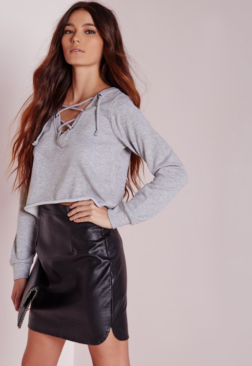 d64ffad1ec Lyst - Missguided Lace Up Crop Sweater Grey in Gray