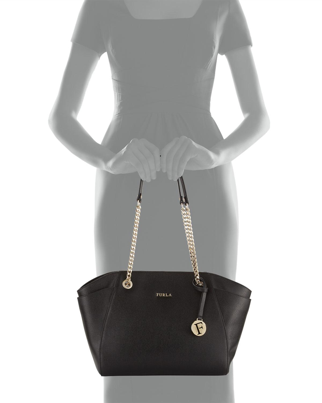 Lyst - Furla Julia Medium Leather Tote Bag in Black 29dc17c5e570c