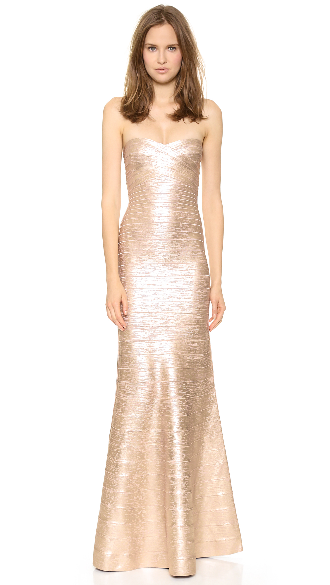 Herv 233 L 233 Ger Sara Strapless Gown Rose Gold Combo In