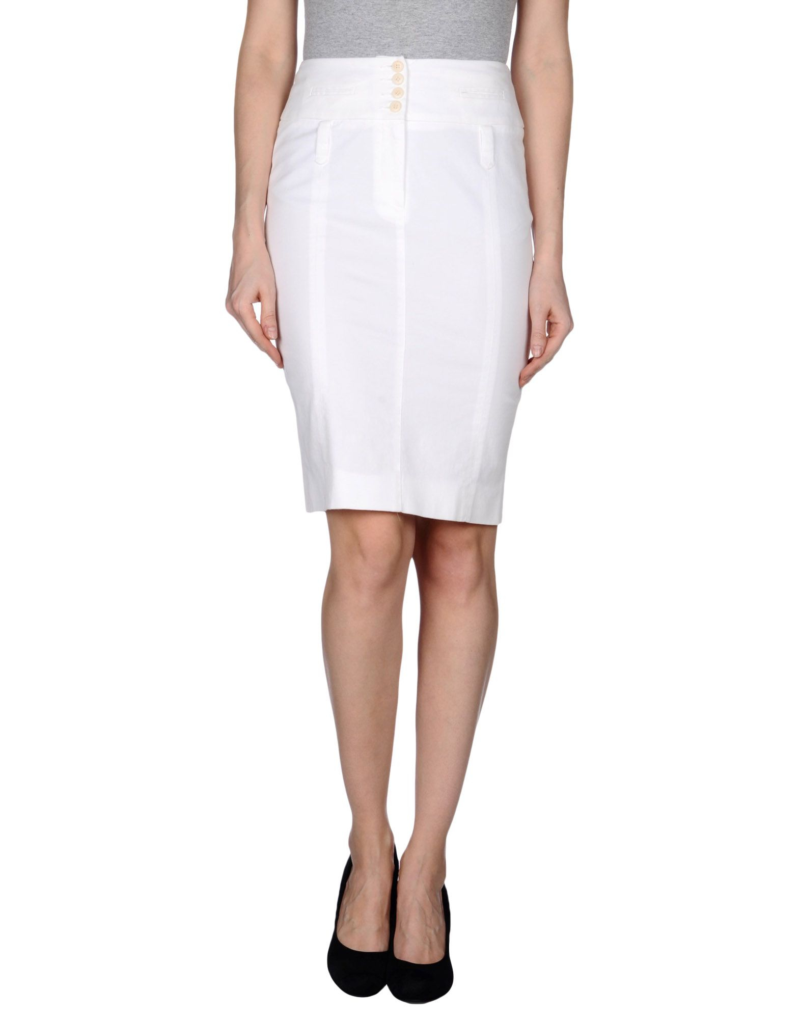 metradamo knee length skirt in white lyst