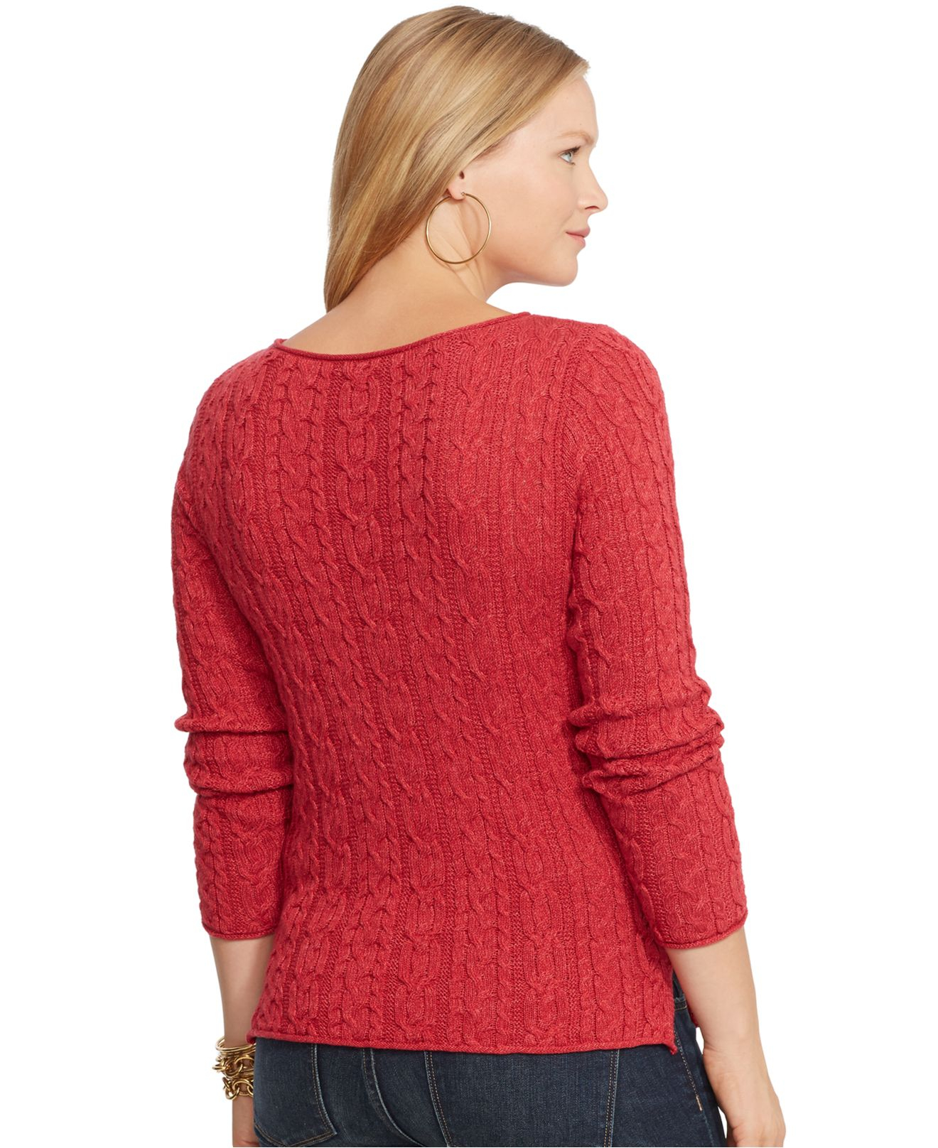 Lyst Lauren By Ralph Lauren Plus Size Cable Knit Sweater In Red