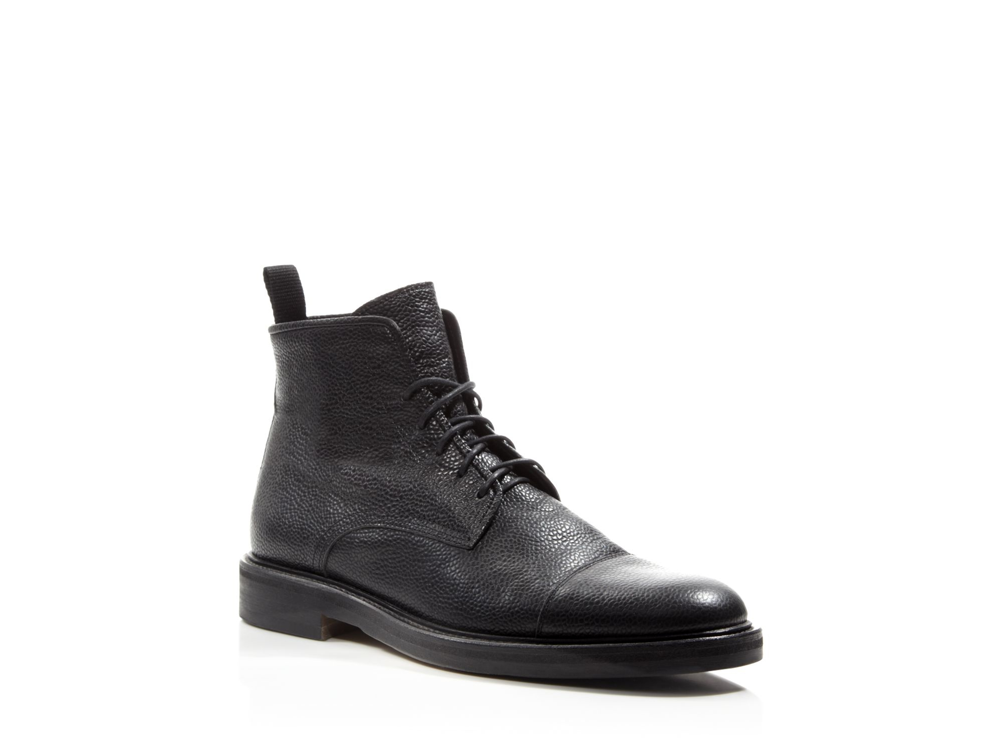 Lyst Theory Pebbled Leather Boots In Black For Men