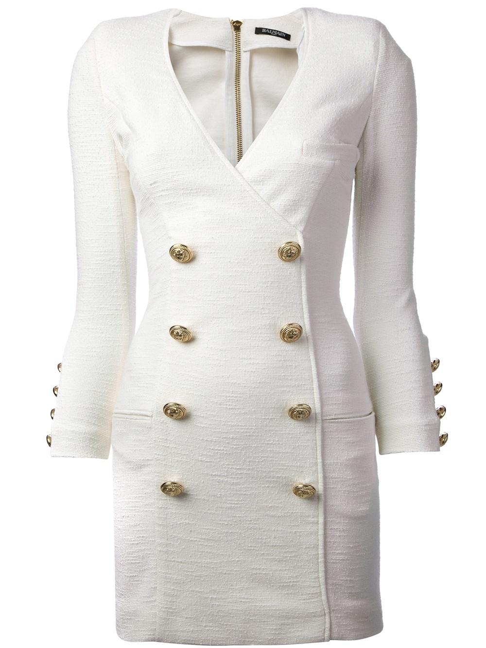 Lyst Balmain Military Dress In White