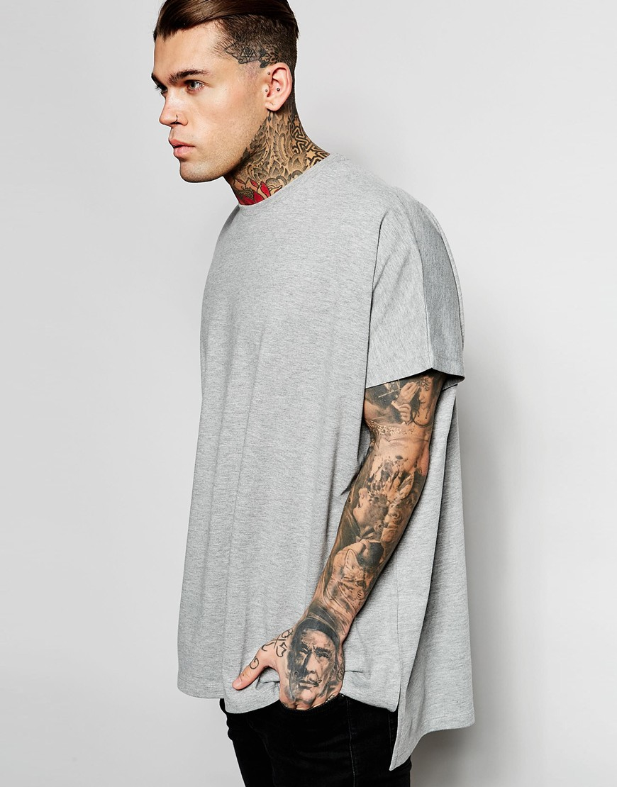 2eeebe14 ASOS Extreme Oversized T-shirt In Heavyweight Jersey With Step Hem ...