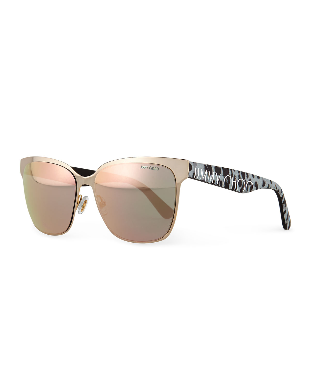 d7155a559b Lyst - Jimmy Choo Mirror Logo-temple Sunglasses in Brown