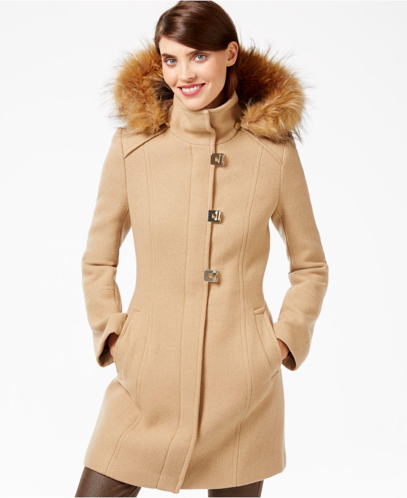 ... Lyst - Calvin Klein Faux-fur-trim Turn-lock Walker Coat in N ...