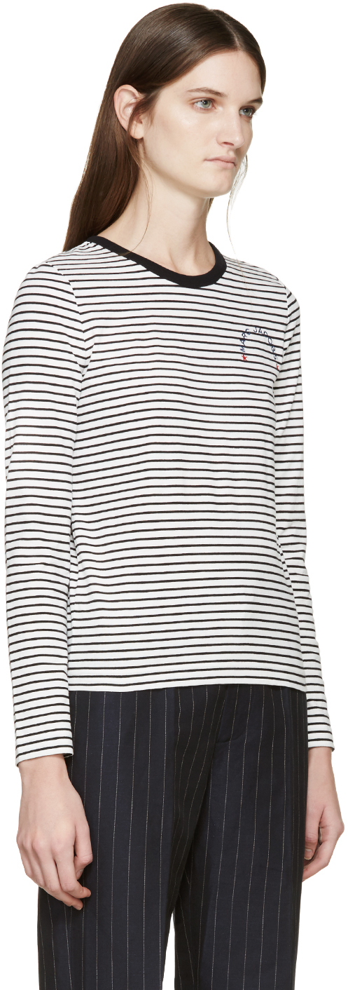 Marc Jacobs Black White Long Sleeve Striped T Shirt In