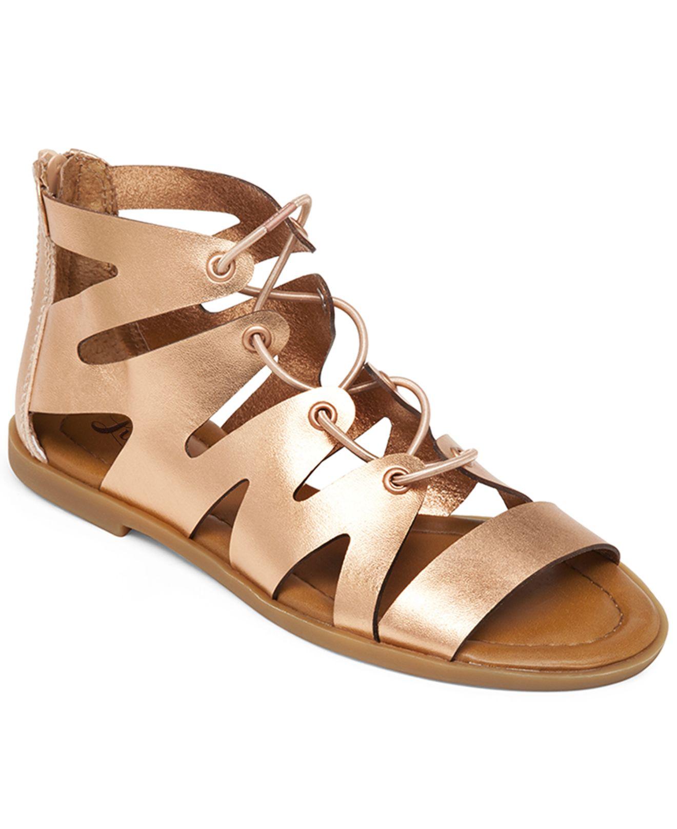Lucky Brand Womenu0026#39;s Centiee Ghillie Flat Sandals In Metallic   Lyst