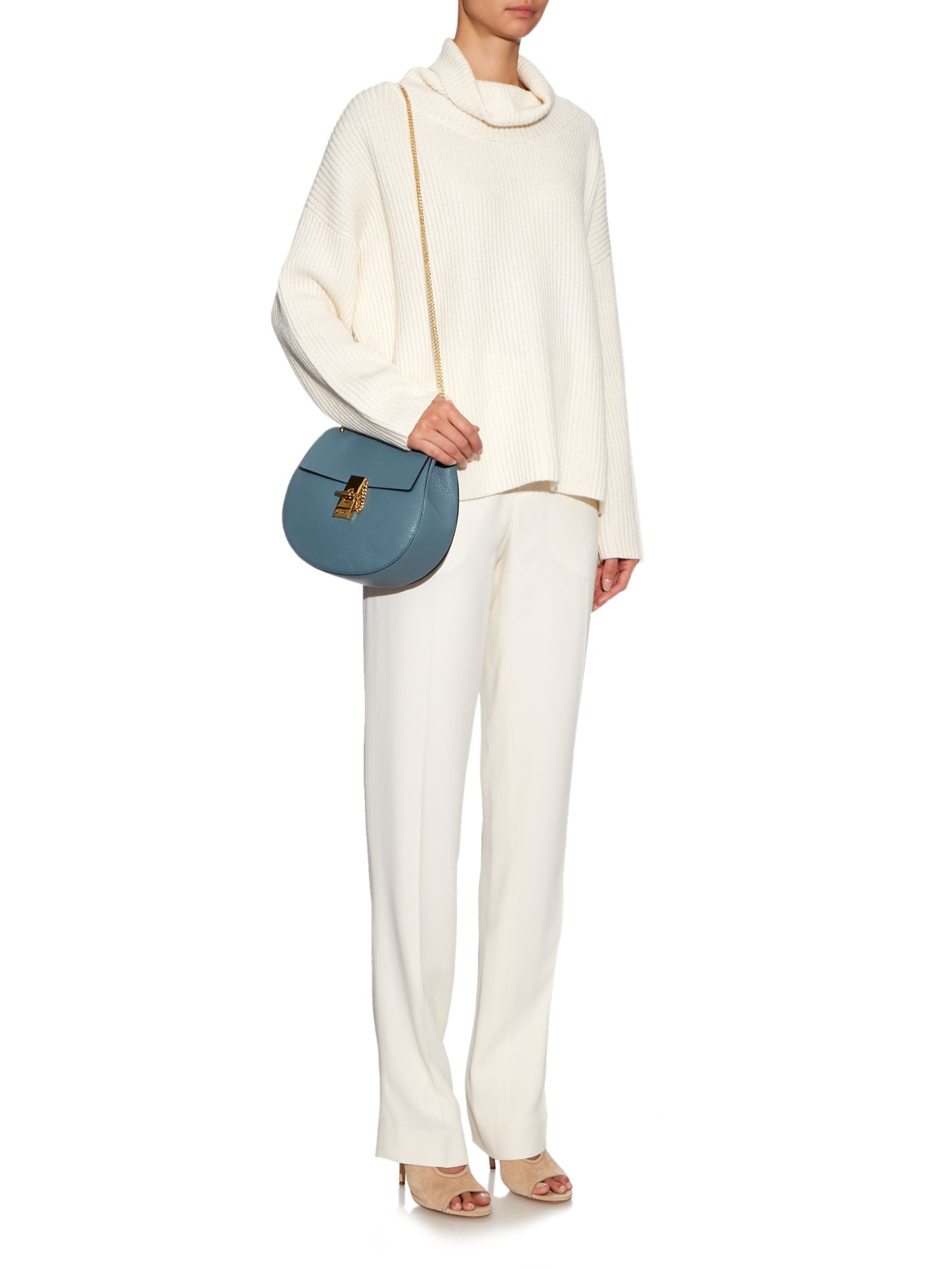 chloe grey bag - Chlo�� Drew Small Leather Cross-Body Bag in Blue (LIGHT BLUE) | Lyst