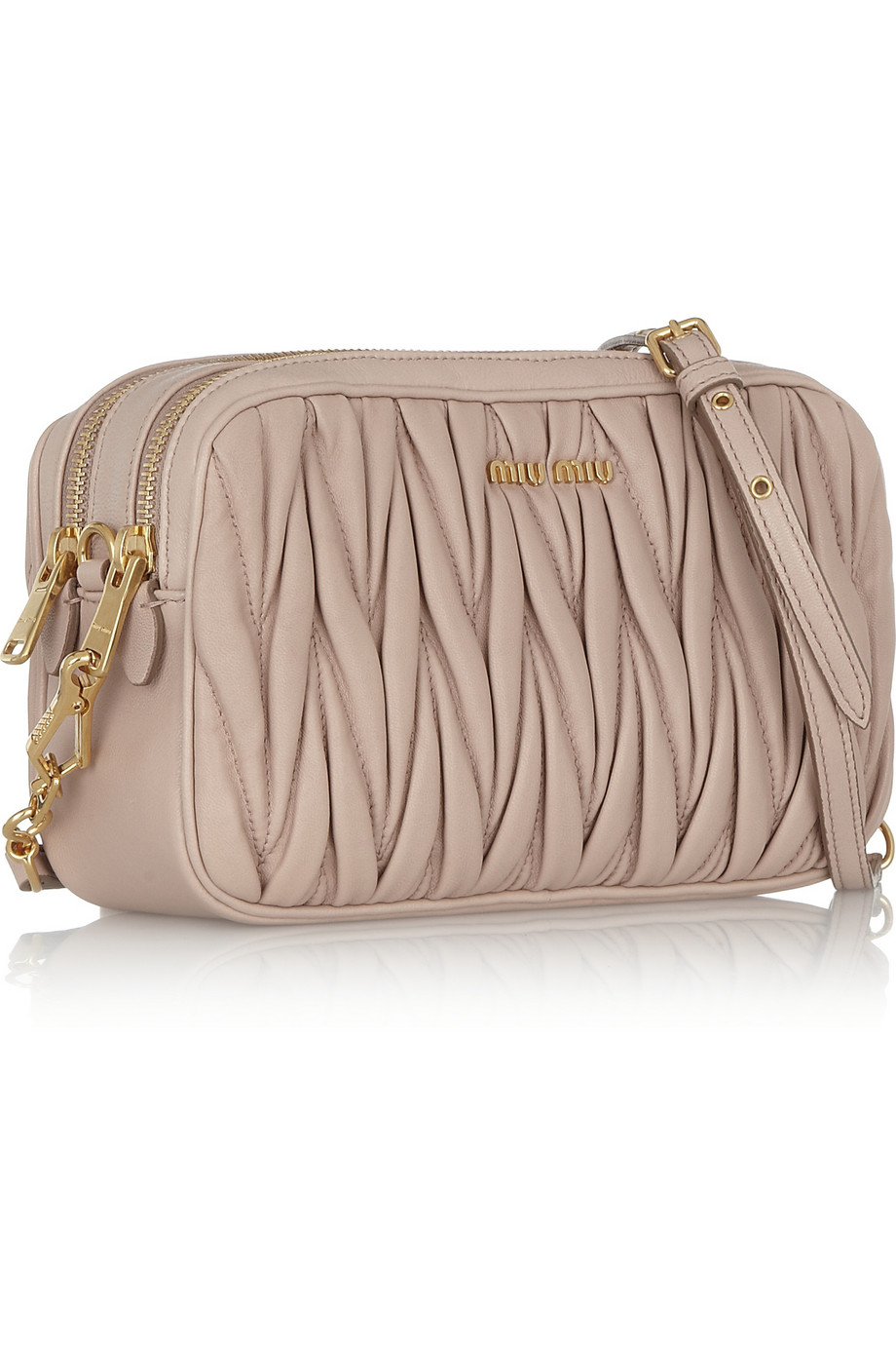 d49d03b6656a Miu Miu Matelassé Leather Shoulder Bag in Natural - Lyst