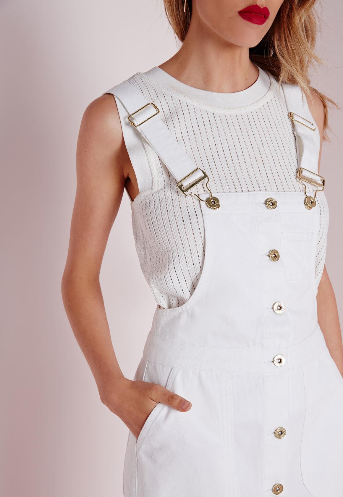 Lyst Missguided Dungaree Denim Midi Dress White In White