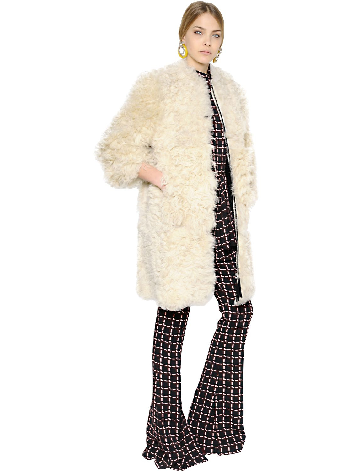Marni Curly Shearling Coat in Natural | Lyst