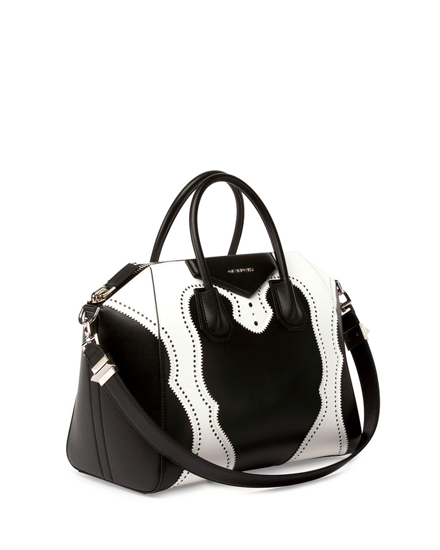 17c13db7dd10b Lyst - Givenchy Small Antigona Brogue Leather Bag in White