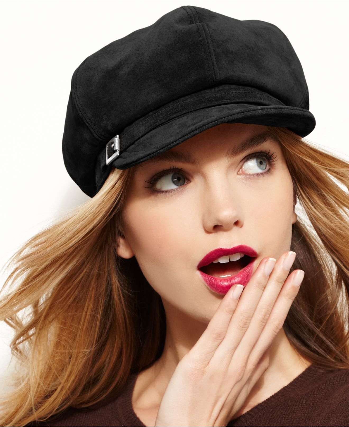 Lyst - Nine West Suede Newsboy Hat in Black a17526aee78