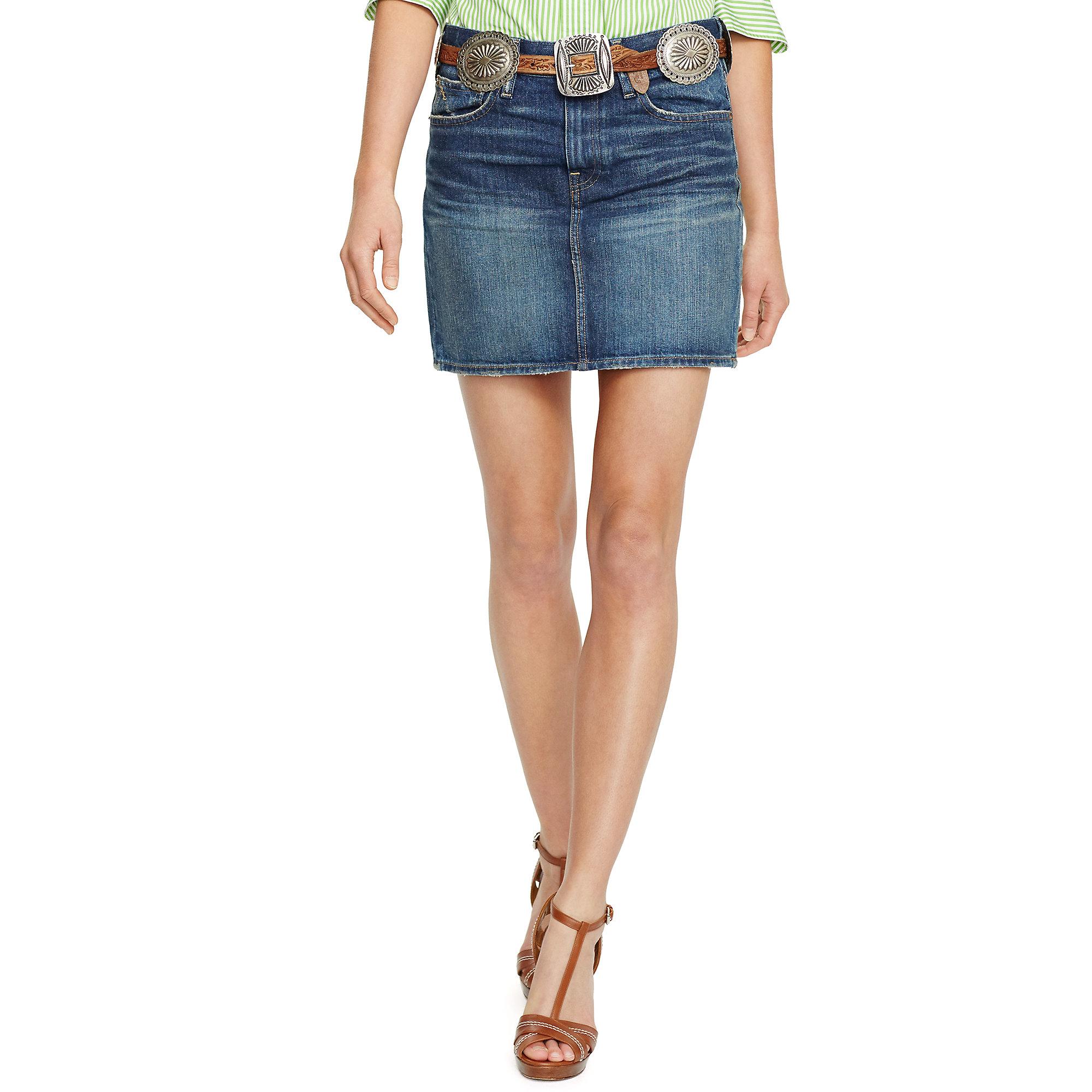 Polo ralph lauren Denim Miniskirt in Blue | Lyst