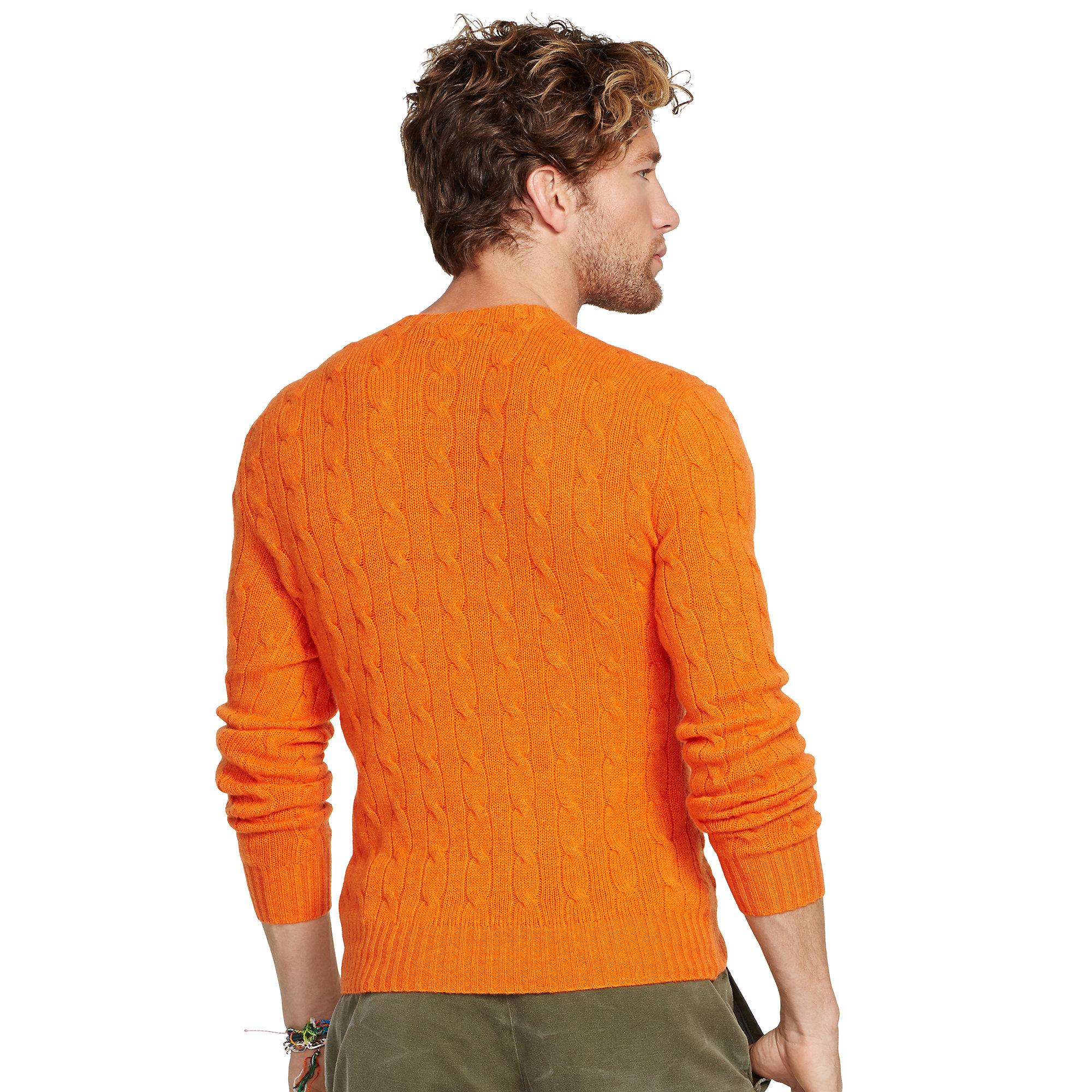 Polo Ralph Lauren Cable Knit Cashmere Sweater In Orange