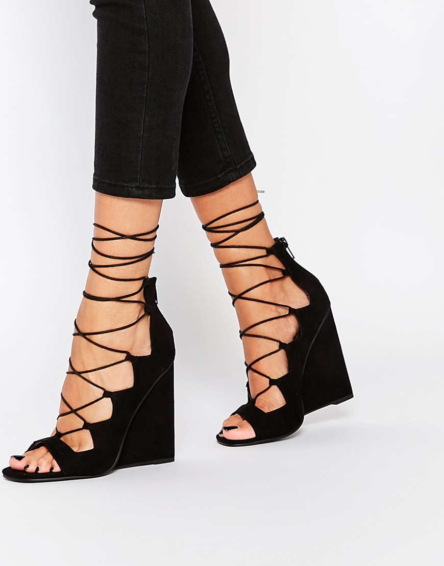 0353d2cd0b Lyst Asos Home Lace Up Wedge Heels In Black