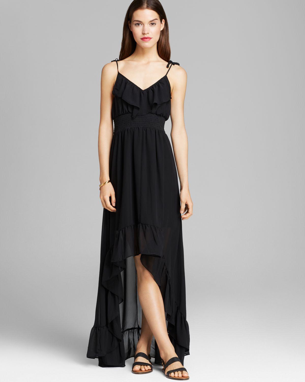 Lyst Guess Maxi Dress Chiffon Ruffle In Black