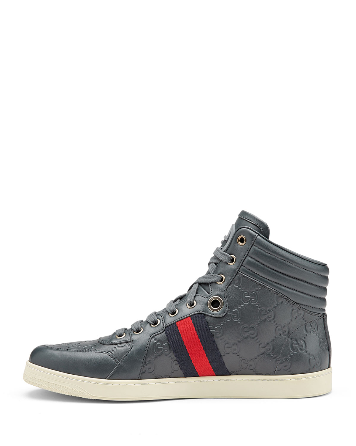 gucci coda ssima leather high top sneakers in gray for men. Black Bedroom Furniture Sets. Home Design Ideas