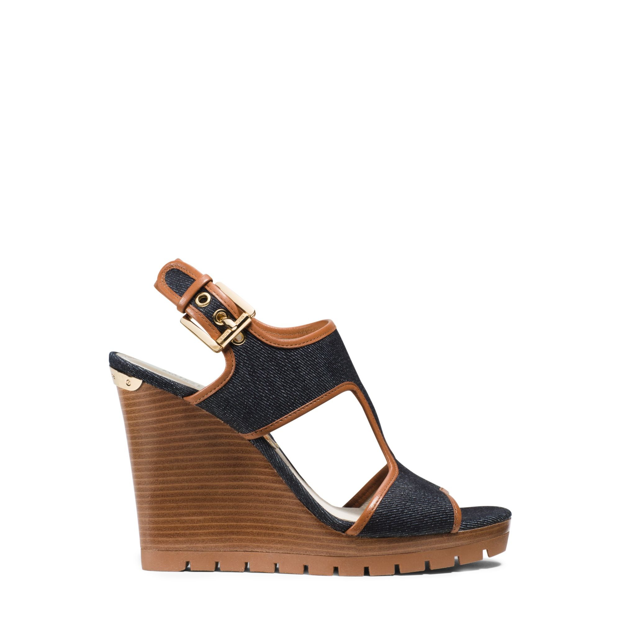 a97c0694a484 Lyst - Michael Kors Gillian Leather-trimmed Denim Wedge in Blue