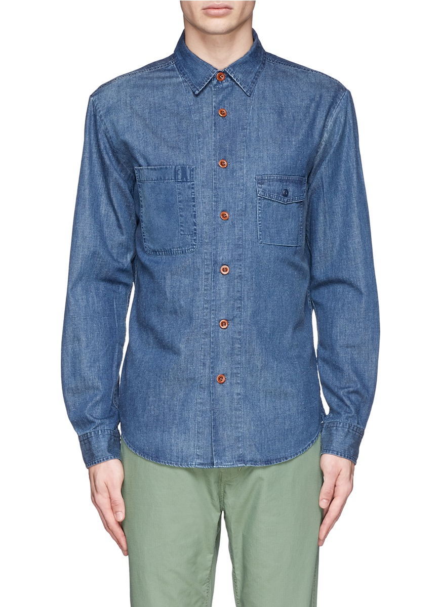 Lyst alex mill cotton linen chambray potrero shirt in for Chambray 7 s