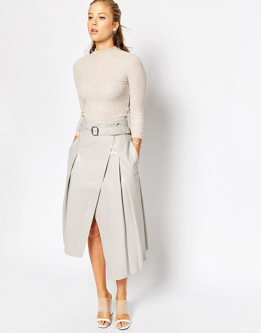 Asos Midi Skirt In Leather Look With Wrap Detail in Gray | Lyst