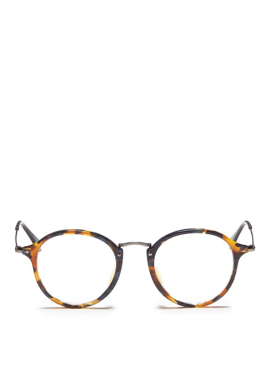 Ray-ban Acetate Round Frame Wire Temple Optical Glasses in ...