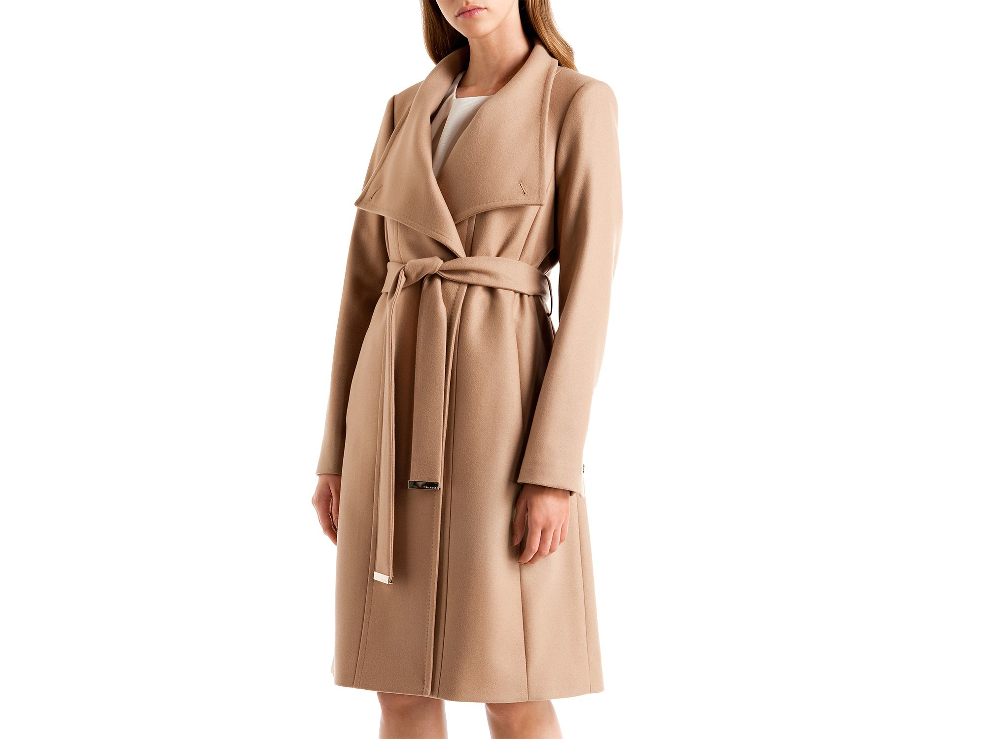54bf8211dd6c92 Lyst - Ted Baker Lorili Long Wrap Coat in Natural